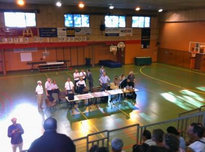 Réunion Gymnase de Barral 17 juillet 2014 : les maires de Seynod et Annecy