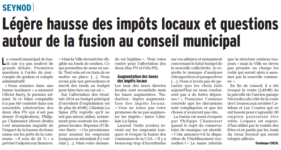 Article du Dauphiné du 01/04/2015 par Dominique Cheul