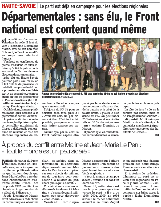 Article du Dauphiné du 13/04/2015