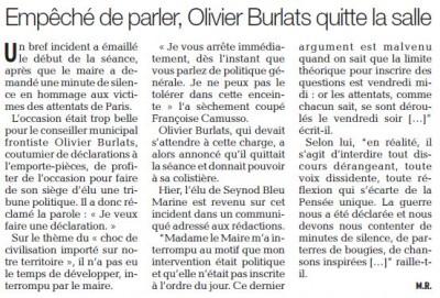 Article du Dauphiné du 18 novembre 2015 par Muriel Rottier